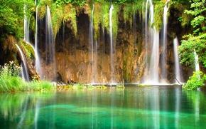waterfall, specular, pond, tropics