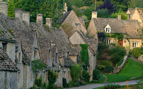 Bibury, Cottages, summer, greens