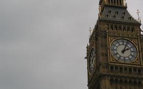 Англия,  Лондон,  Биг-Бен,  часы,  циферблат,  стрелки,  башня,  небо,  пасмурно