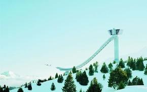 plane, hill, winter