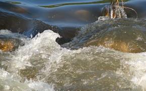 река, вода, течение, бурлит, препядствие, брызги