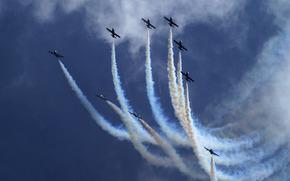 шлейфы, небо, самолеты