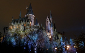 Hogwarts, light, rocks, Tower