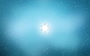 свечение, снег, снежинка, минимализм
