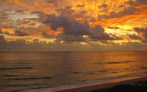 美しい, ビュー, 海岸, 空, 夕方