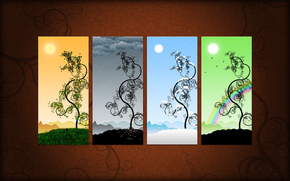 вектор, сезоны, картина