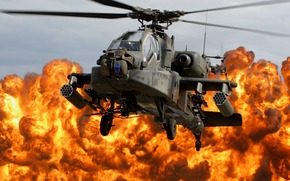 helicopter, blades, cabin, explosion, fire, napalm