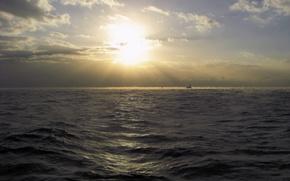 sea, waves, haze, yacht, sun