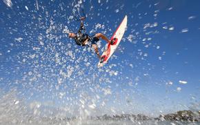 Kitesurfing, Kite, water, spray, Extreme, sport