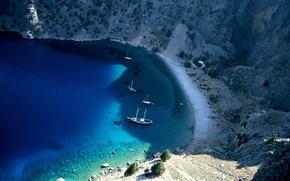 bay, Yacht, azure, mountain, sea, coast, lagoon