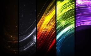 радуга,  коллаж,  свет,  линии,  полосы,  изгибы,  лучи,  искры