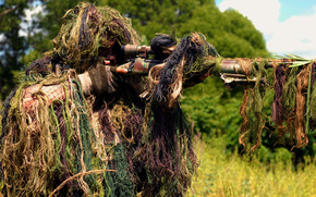 sniper, soldier, rifle, camouflage, shooting, on vskidku, sight, optics, forest, grass
