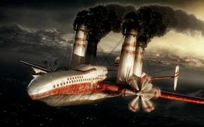 plane, pipe, sea, Mountains, smoke, Andrew