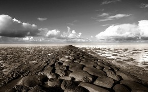 stones, clouds, horizon