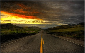 road, Hills, clouds, sunset