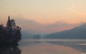 lac, brouillard, eau