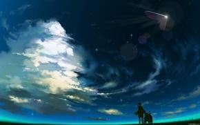 男孩, 天空, 船