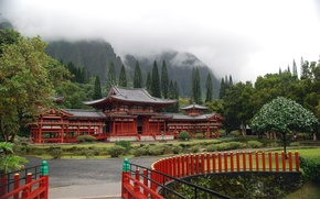 храм,  пагода,  горы,  туман,  зелень,  деревья