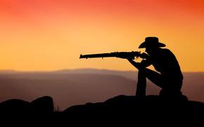 винтовка, энфилд, ковбой, закат