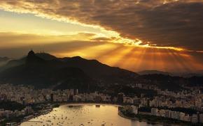 Brasil, Ro de Janeiro, puesta del sol, cielo, las nubes, Rascacielos, ocano, Barco