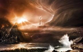 onde, nuvole, tempesta, citt