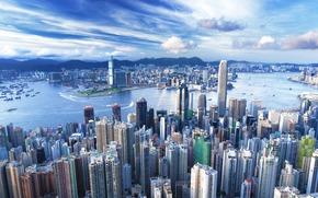 Hong Kong, megalopoli, edificio, Grattacieli