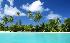 тропический остров, пляж.море, океан, вода, песок, пальмы