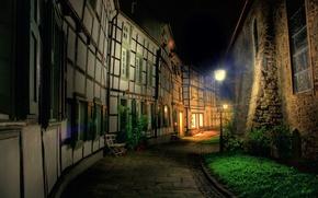 ночь,  город,  улица,  фонарь,  дома