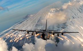 самолет, полет, небо, дым, огонь, облака