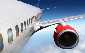 самолёт, турбина, крыло, фюзеляж