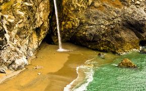 landscapes, waterfalls, water, rocks, coast, sand