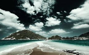 небо,  облака,  пляж