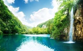 cascata, fiume, nuvole, alberi, verdura