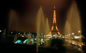 Francia, Parigi, eiffel, torre, notte, Fontane, semaforo