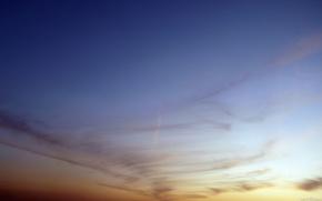 небо,  закат,  след,  самолёт,  вечер,  градиент