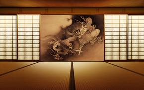 room, interior, picture, style, dragon