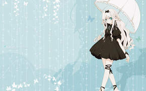 девушка, зонтик, бабочки