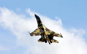 су-35, истребитель, небо, камуфляж, россия