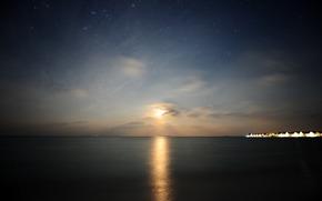 закат солнца, пейзажи, мальдивы, вид, дома, свет, огни, ночь, звезда, звёзды, вода, море, океан, ночные фотографии, красивые обои для рабочего стола, небо, небеса, гладь, просторы, тишина, красота