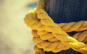 желтый, канат, веревка, нитки, столб