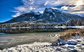 landscape, bavaria, germany, bavaria, Germany, Mountains, nature, form, place, beauty, lake, water, winter, snow, grass, top, vertices, clouds, sky, sun, morning, coast