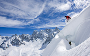 Skiing, skier, snow, Mountains, sky, landscape, powder