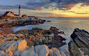 sea, lighthouse, stones, landscape, sky, sunset