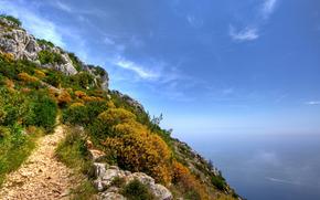 пейзажи, природа, скала, скалы, вода, вид, океан, море, лодка, лодки, катера, самолёты, слетды, недо, трава, цветы, лето, весна, весенние обои, летние обои, красота, высота