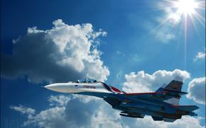 Су-27,  истребитель,  небо,  облака