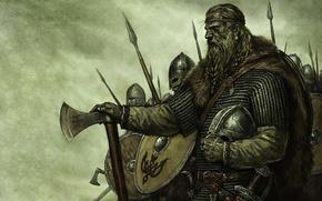 Vikings, lance, ax, sword, helmet, shield, mail, viking