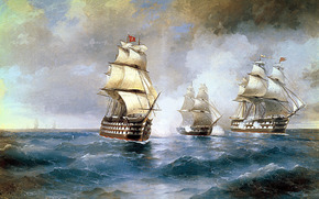 "Aivazovsky, Brig ""Mercury"", Attacked by Two Turkish Ships, kartinamore, waves, the sky, clouds, Ships"