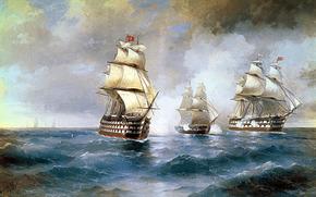 """Aivazovsky, Brig """"Mercury"""", Zaatakowany przez dwch tureckich statkw, kartinamore, fale, niebo, chmury, zwykle"""
