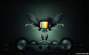 руки,  музыка,  телевизор,  динамики,  крылья,  диван