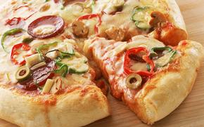 food, pizza, vegetables